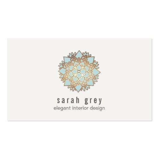 Elegant Gold and Blue Lotus Flower Business Cards