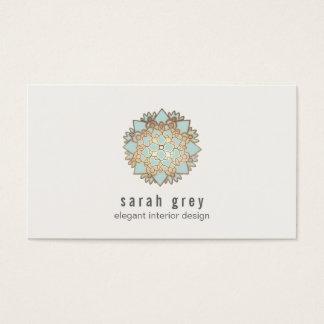 Elegant Gold and Blue Lotus Flower Business Card