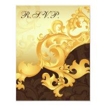 "elegant ""gold and brown"" wedding RSVP Card"