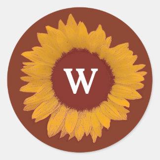 Elegant Gold and Chocolate Sunflower Wedding A11Z Classic Round Sticker