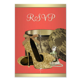 Elegant Gold and Coral Guava Birthday Party RSVP Card