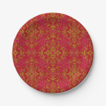 Elegant Gold and Deep Pink Floral Damask Pattern Paper Plate