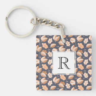 Elegant Gold and Gray Art Deco Autumn Leaves Keychain