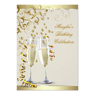 Elegant Gold and Ivory Cream Birthday Card