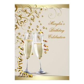 Elegant Gold and Ivory Cream Birthday Custom Announcements