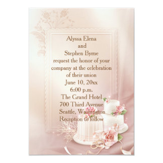 Elegant Gold and Ivory Wedding Invitation