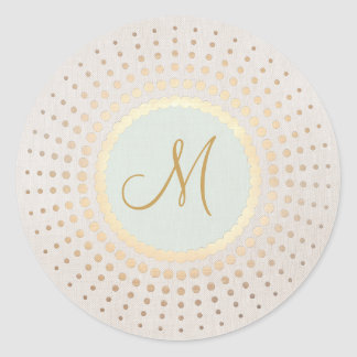 Elegant Gold and Light Blue Gold Monogram Classic Round Sticker