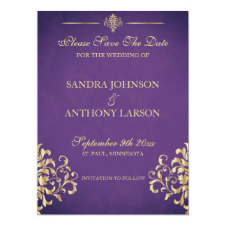 Elegant Gold and Purple Damask Save The Date Card