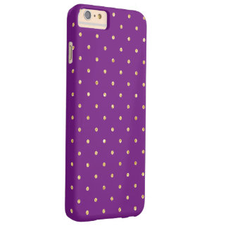 Elegant Gold and Purple Glitter Polka Dots Pattern Barely There iPhone 6 Plus Case