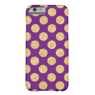 Elegant Gold and Purple Glitter Polka Dots Pattern Barely There iPhone 6 Case