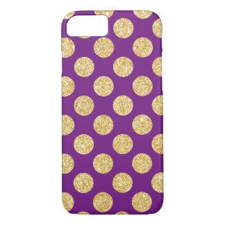Elegant Gold and Purple Glitter Polka Dots Pattern iPhone 7 Case