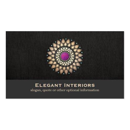 Elegant Gold and Purple Motif Interior Designer Business Cards