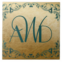 Elegant Gold and Teal Three Initials Tile