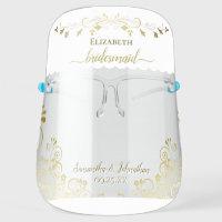 Elegant Gold and White Bridesmaid Wedding Face Shield