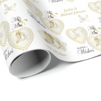Elegant Gold and White Dove Wedding Hearts Wrapping Paper