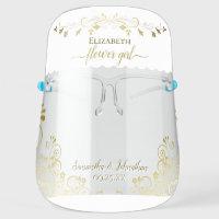 Elegant Gold and White Flower Girl Wedding Face Shield