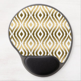 Elegant Gold And White Geometric Quatrefoil Gel Mouse Pad