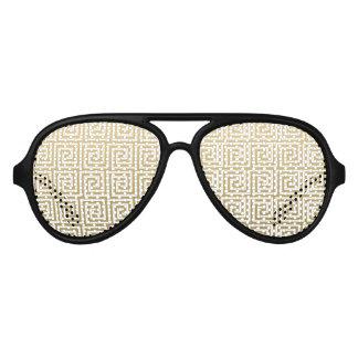 Elegant Gold and White Greek Key Pattern Aviator Sunglasses