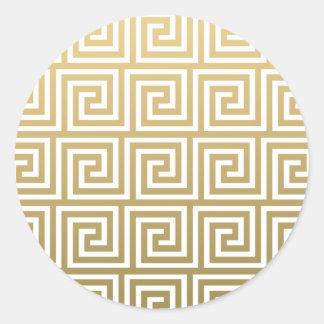 Elegant Gold and White Greek Key Pattern Classic Round Sticker