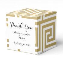 Elegant Gold and White Greek Key Pattern Favor Box
