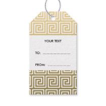 Elegant Gold and White Greek Key Pattern Gift Tags