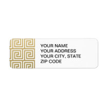 Elegant Gold and White Greek Key Pattern Label
