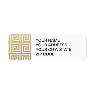 Elegant Gold and White Greek Key Pattern Label