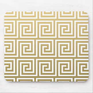 Elegant Gold and White Greek Key Pattern Mouse Pad