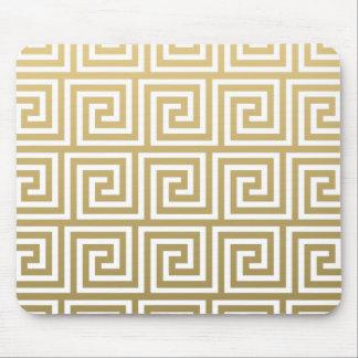 Elegant Gold and White Greek Key Pattern Mouse Pad