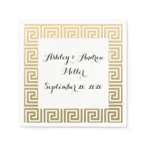 Elegant Gold and White Greek Key Pattern Napkin