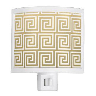Elegant Gold and White Greek Key Pattern Night Light