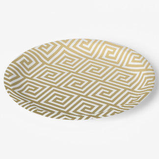 Elegant Gold and White Greek Key Pattern 9 Inch Paper Plate