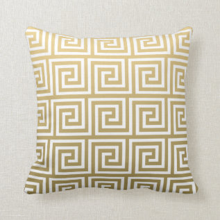 Elegant Gold And White Greek Key Pattern Throw Pillow at Zazzle