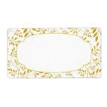 Elegant Gold and White Leaves Label Custom Shipping Label