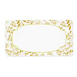 Elegant Gold and White Leaves Label Custom Shipping Label