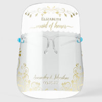 Elegant Gold and White Maid of Honor Wedding Face Shield
