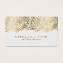 Elegant Gold And White Paisley 2 Wedding Planner Business Card