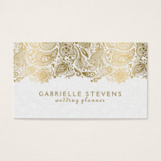 Elegant Gold And White Paisley 2 Wedding Planner Business Card at Zazzle