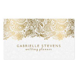 Elegant Gold And White Paisley 2 Wedding Planner Double-Sided Standard Business Cards (Pack Of 100)