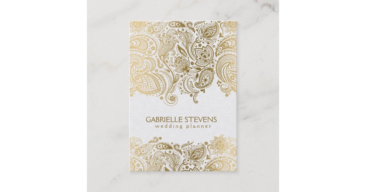 Elegant Gold And White Paisley 3 Wedding Planner Business Card ...