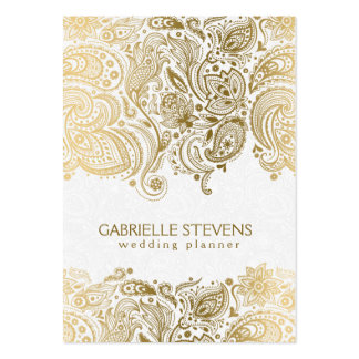 Elegant Gold And White Paisley 3 Wedding Planner Large Business Cards (Pack Of 100)