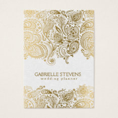 Elegant Gold And White Paisley 3 Wedding Planner Business Card at Zazzle