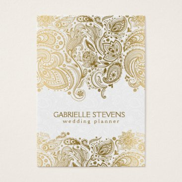 Professional Business Elegant Gold And White Paisley 3 Wedding Planner Business Card