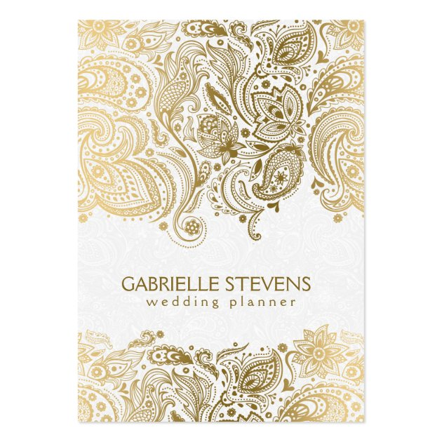 Elegant Gold And White Paisley 3 Wedding Planner Large Business Card