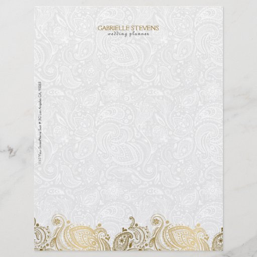 Elegant Gold And White Paisley Lace Letterhead
