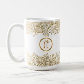Elegant Gold And White Paisley Monogram
