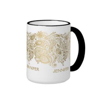 Elegant Gold And White Paisley Mugs