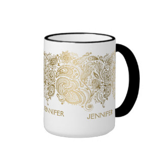 Elegant Gold And White Paisley Ringer Mug