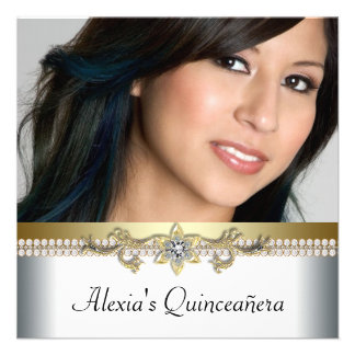 Elegant Gold and White Photo Quinceanera Personalized Invitation