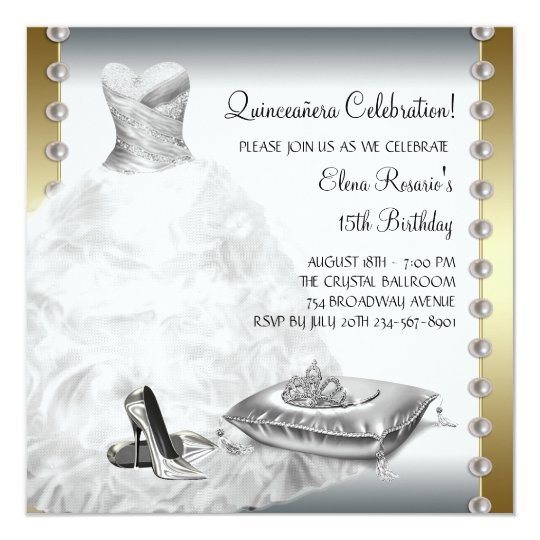 Elegant Gold and White Quinceanera Card